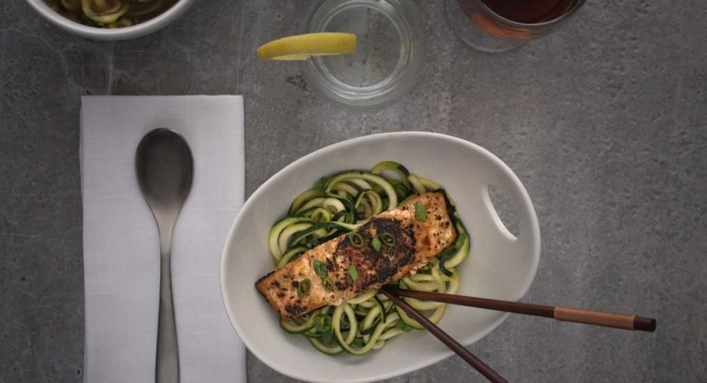 Baked Salmon with Zoodles