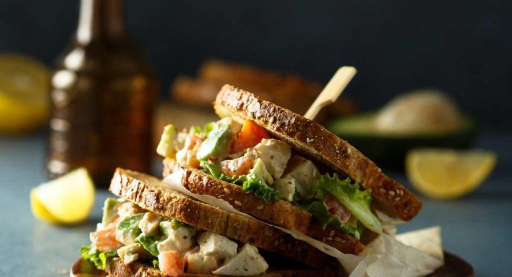 Mediterranean Avocado Chicken Salad Sandwich